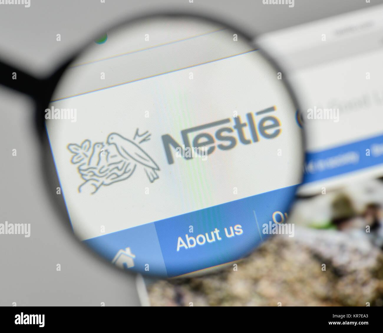 Milan, Italy - November 1, 2017: Nestle logo on the website homepage