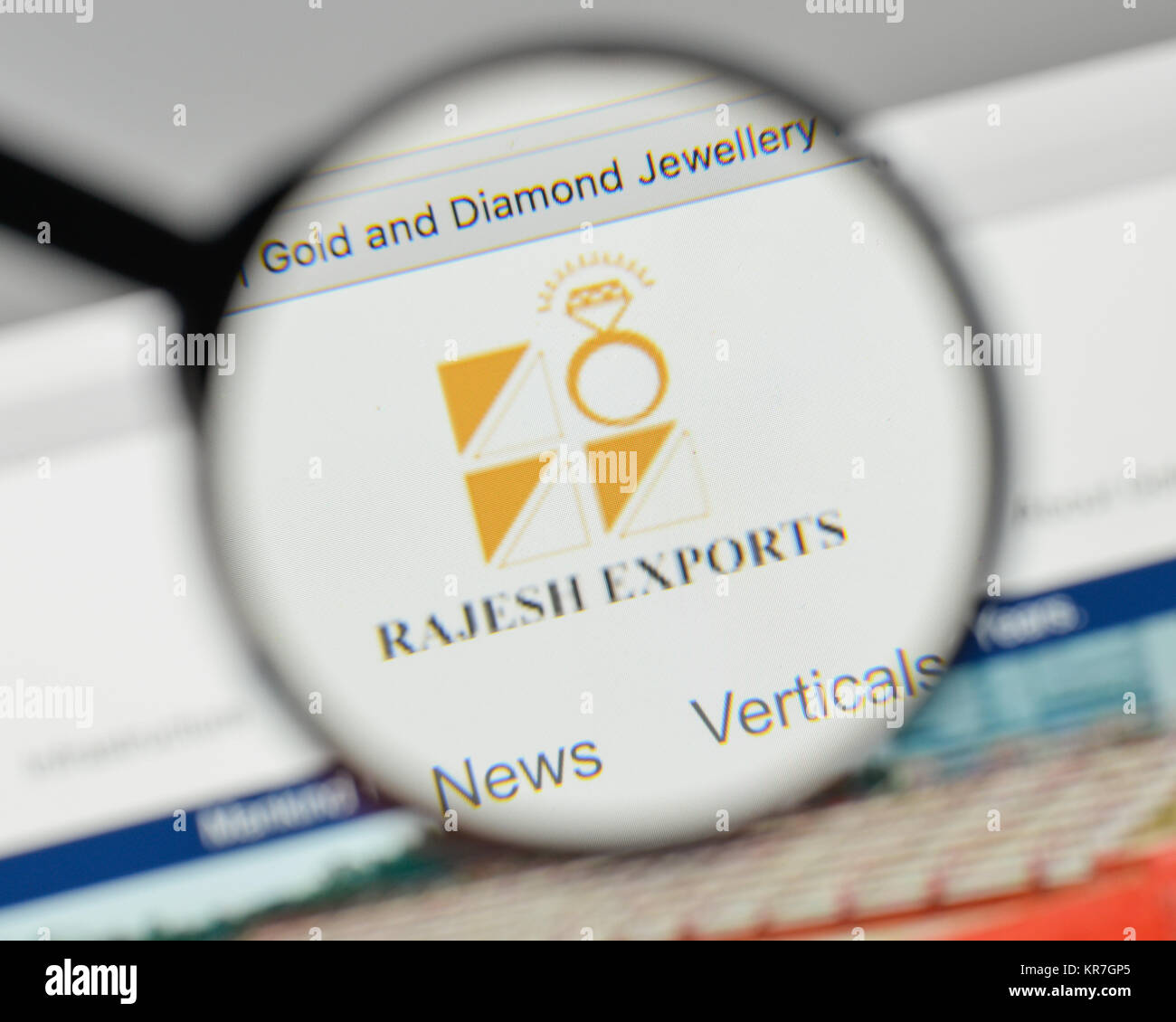 Milan, Italy - November 1, 2017: Rajesh Exports logo on the website homepage. - Stock Image
