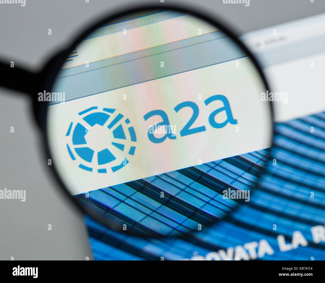 Milan, Italy - August 10, 2017: A2A website homepage. It . A2A logo visible. Stock Photo