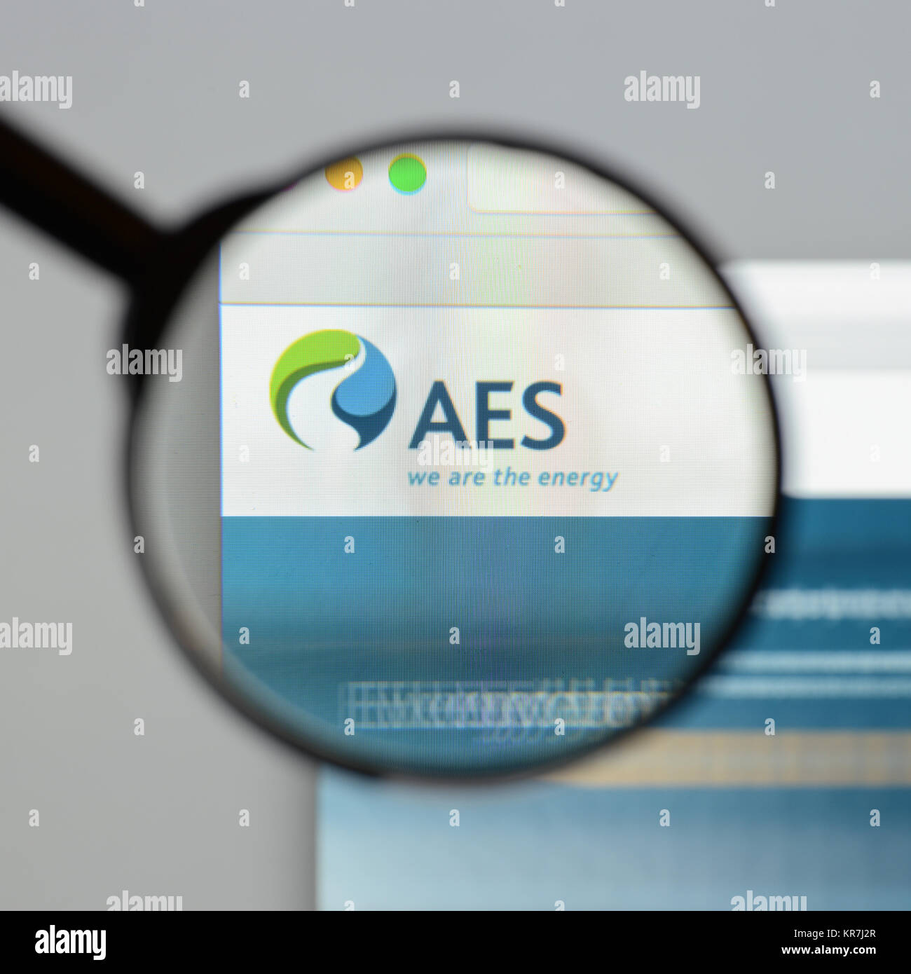 Milan, Italy - August 10, 2017: AES website homepage. It is a Fortune 200 company that generates and distributes - Stock Image