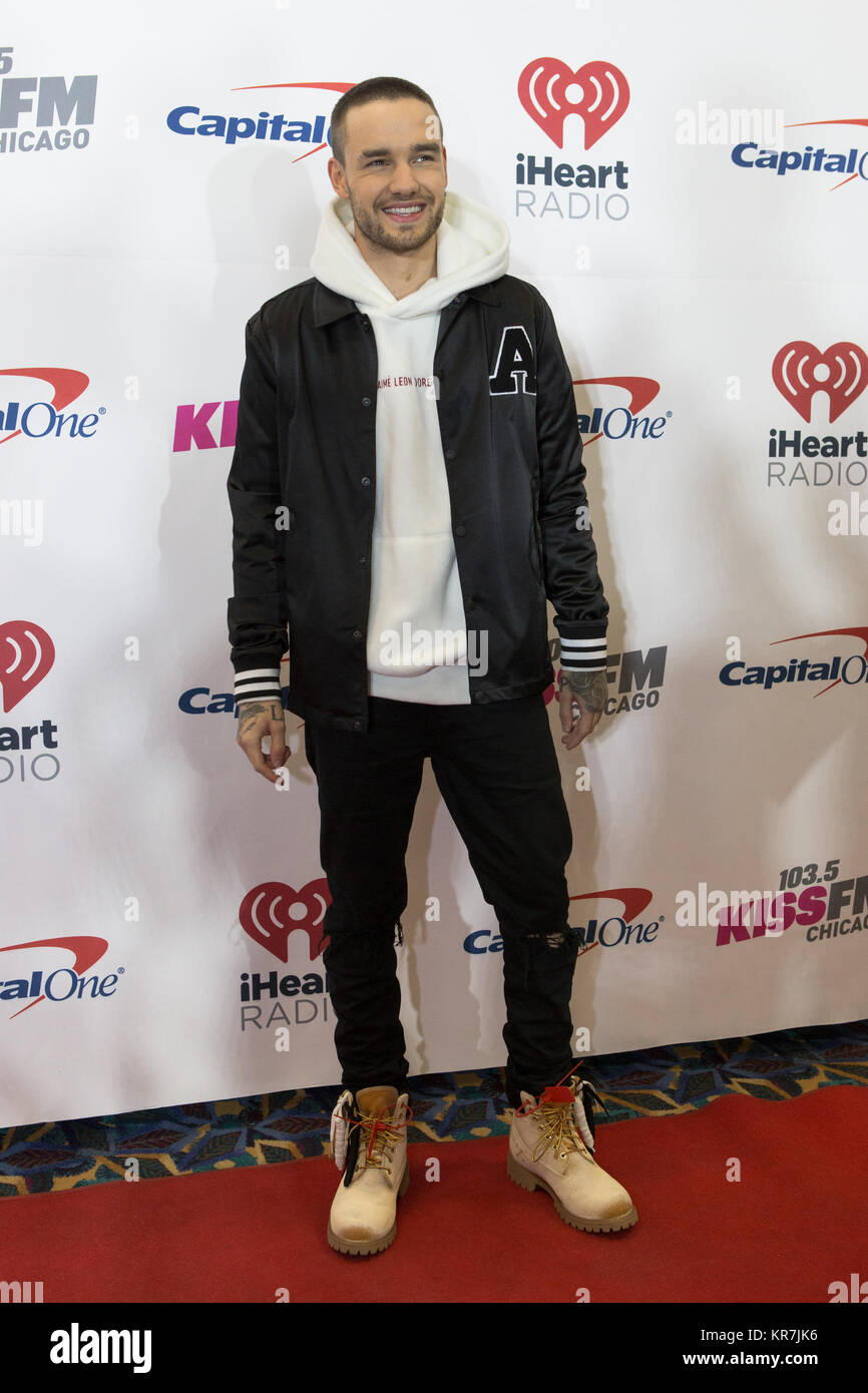 Liam Payne walks the red carpet at 103.5 KISS FM iHeartRadio Jingle Ball at Allstate Arena on December 13, 2017 - Stock Image