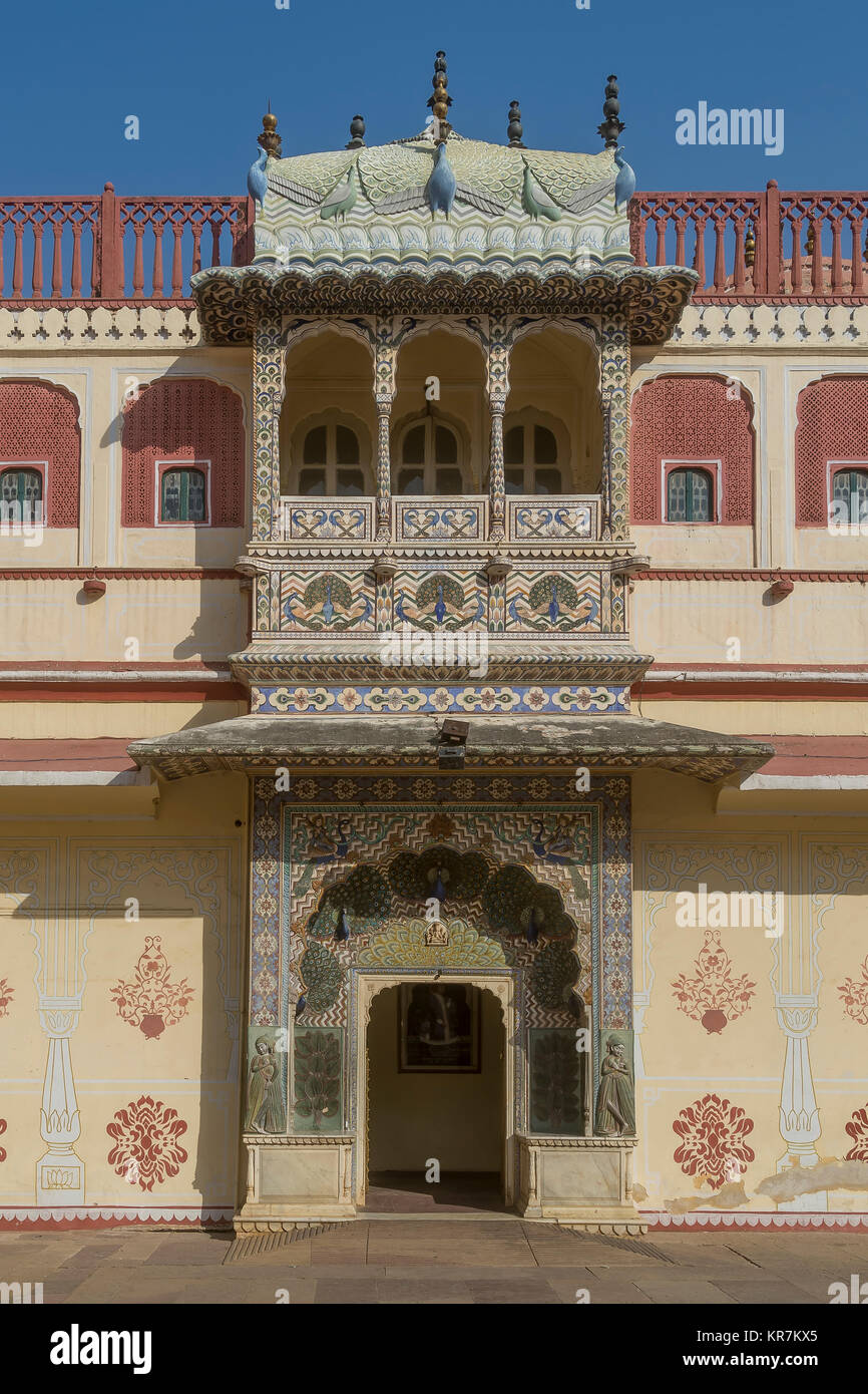 Beautifully decorated door in Jaipur City Palace, Rajasthan, India - Stock Image