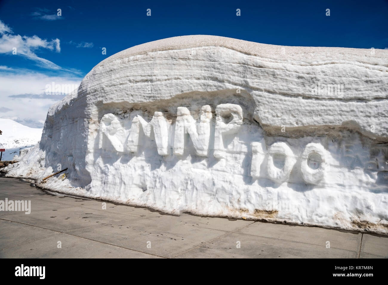 Snow written message of tourists on top of Trail Ridge Road , Rocky Mountain National Park, Colorado, USA, North Stock Photo