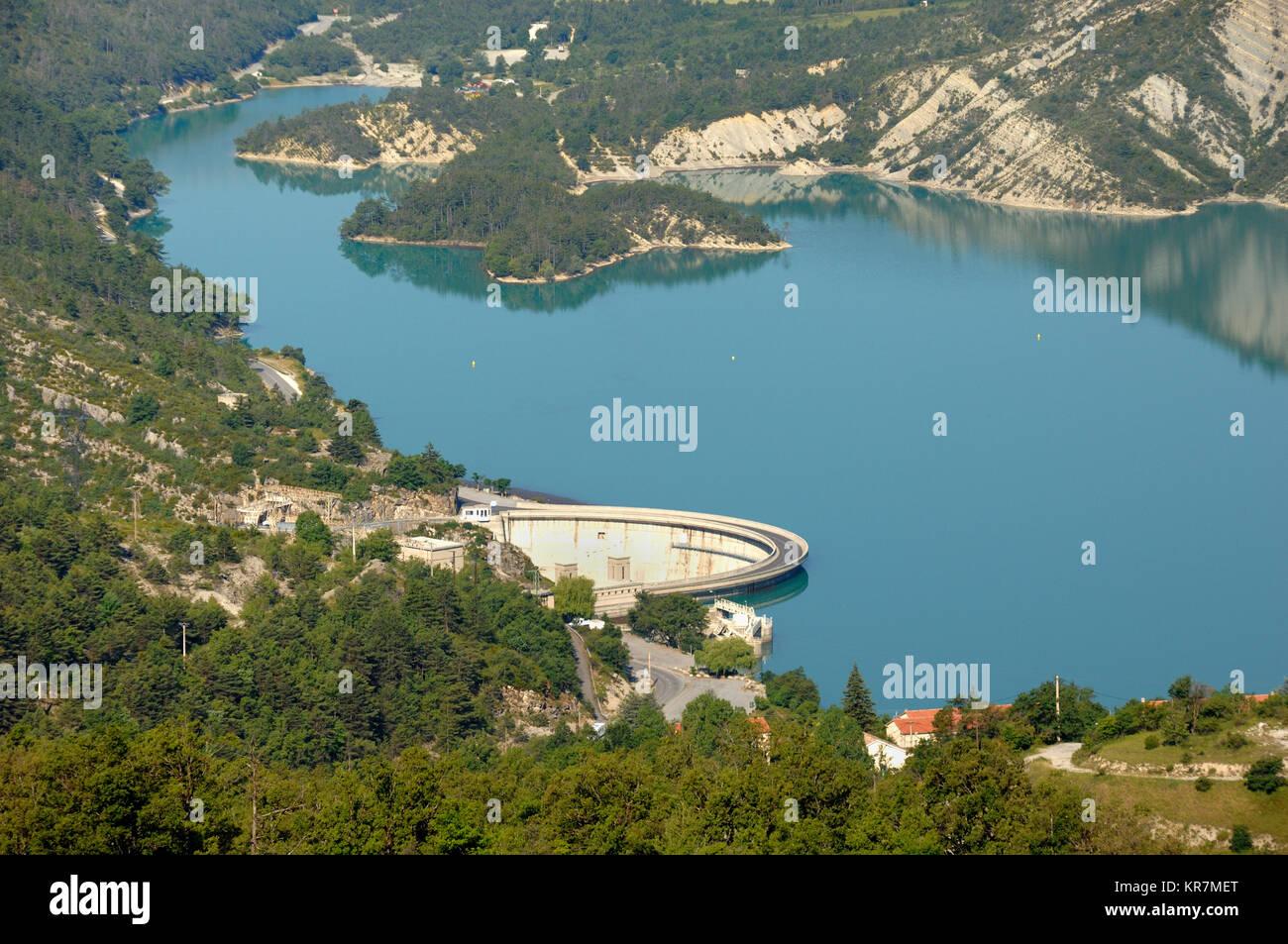 Aerial View over Castillon Lake, Reservoir and Hyroelectric Dam near Castellane, in the Verdon Valley, Alpes-de Stock Photo