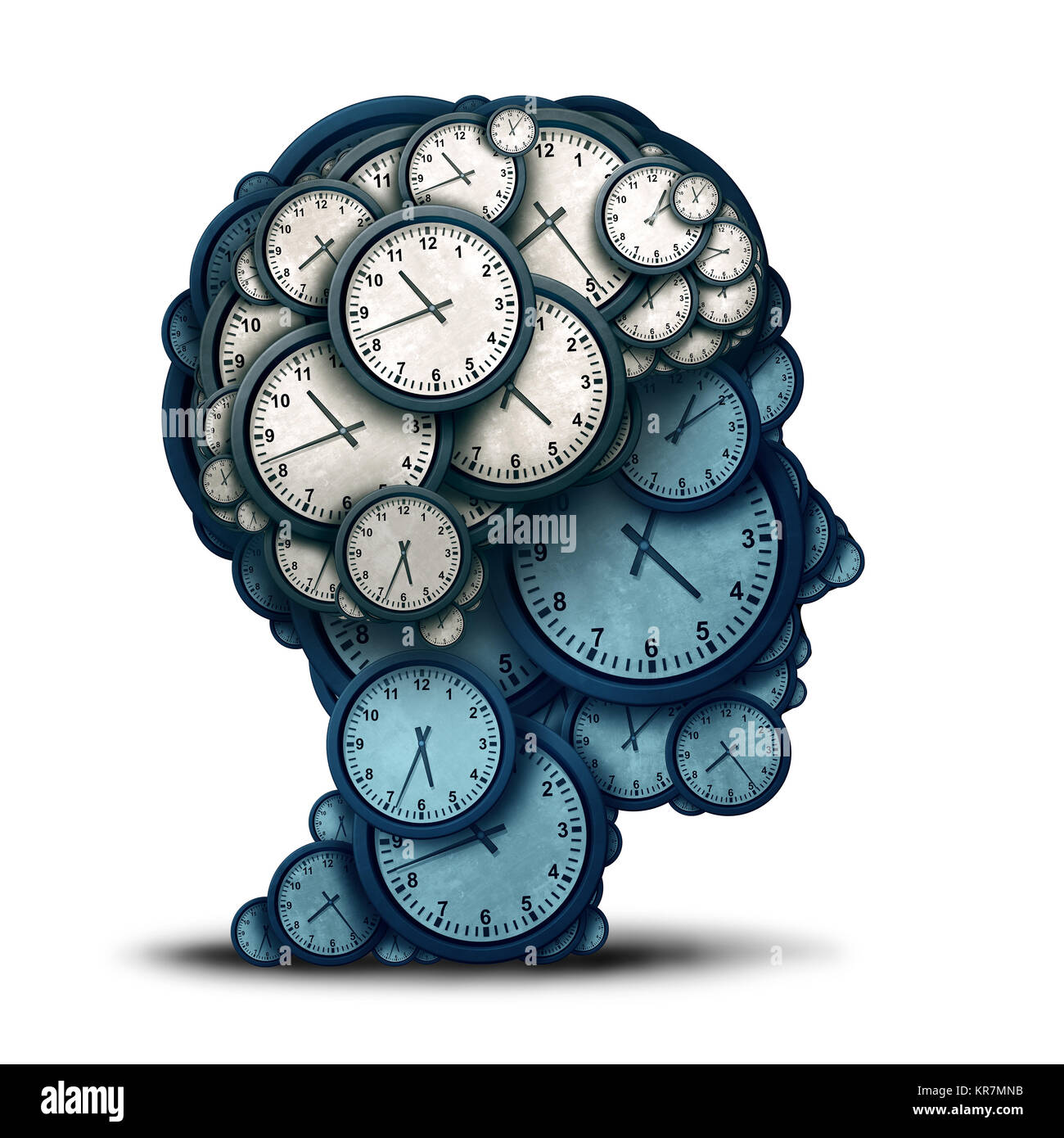 Time management mind and business scheduling or deadline planning as a human brain made of clock objects as a 3D - Stock Image