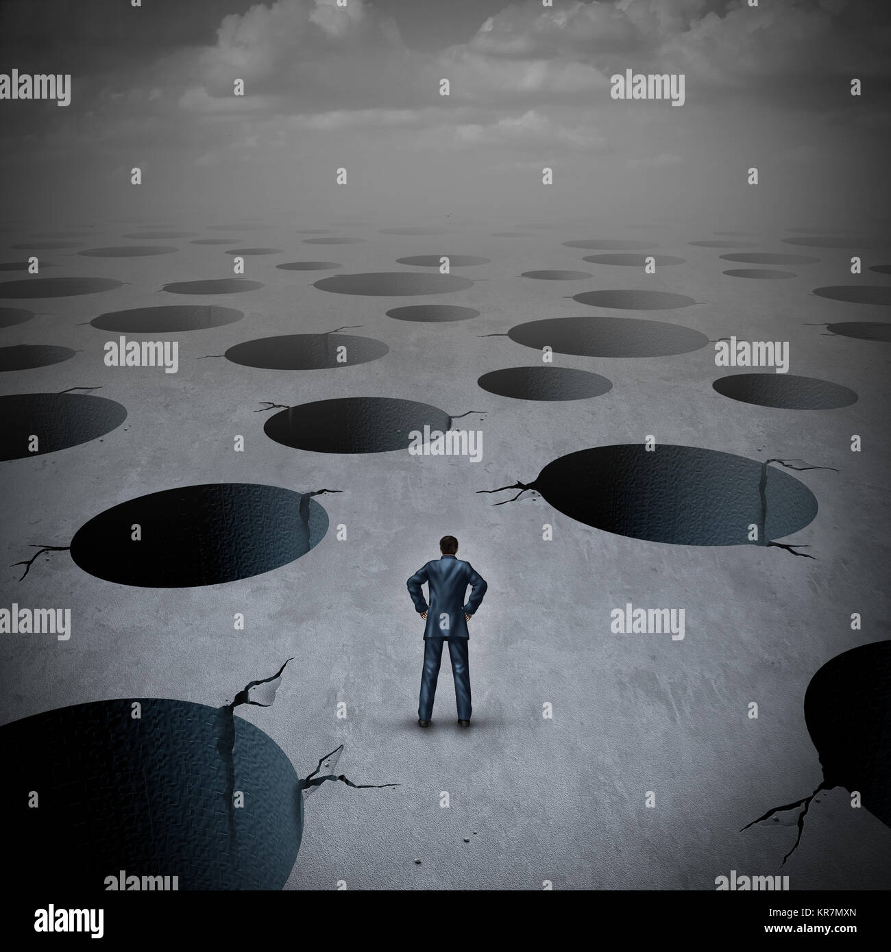 Pitfall concept as a vulnerable businessman facing risky business peril deep holes as an uncertainty stress idea - Stock Image