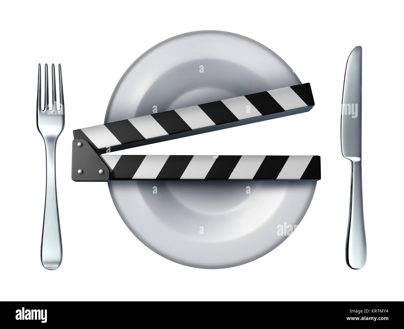 Food video and cooking movie clapper concept or streaming culinary course concept as a dinner plate shaped as a - Stock Image