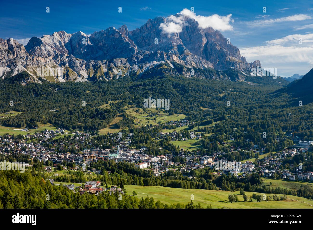 Monte Cristallo of the Dolomite Mountains looming over town of Cortina d'Ampezzo. Belluno, Italy - Stock Image