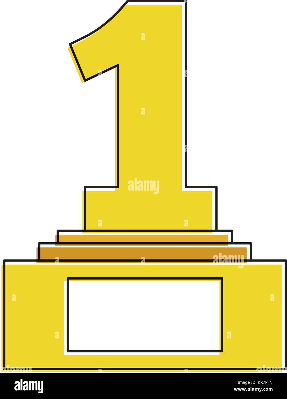 number one trophy award Stock Vector Art & Illustration