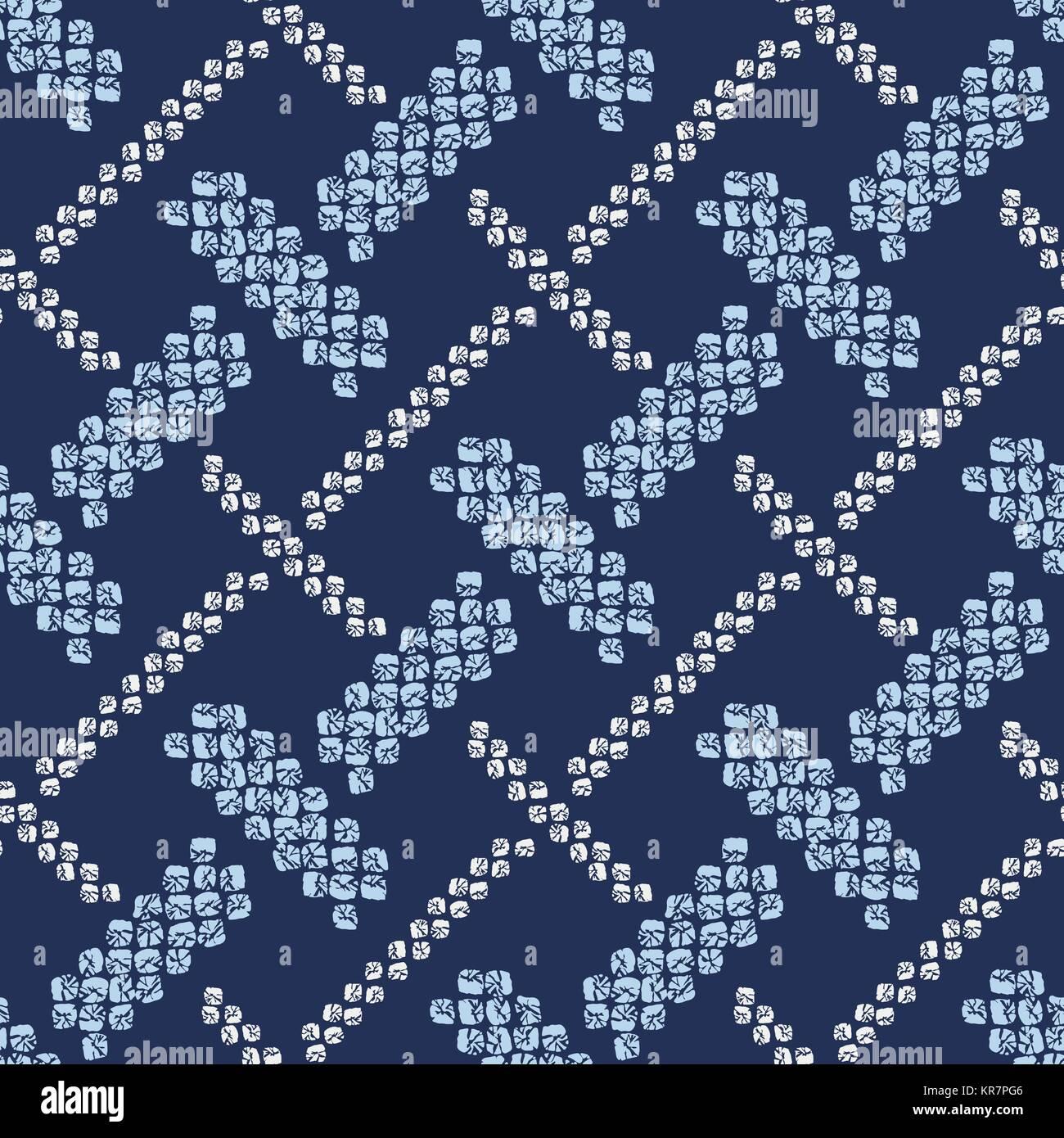Shibori ornament. Weaving motif. Asian seamless pattern. Dark indigo background. Classic japanese dyeing technique. - Stock Vector