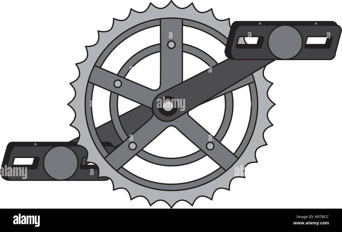 bicycle sprocket with pedal - Stock Image