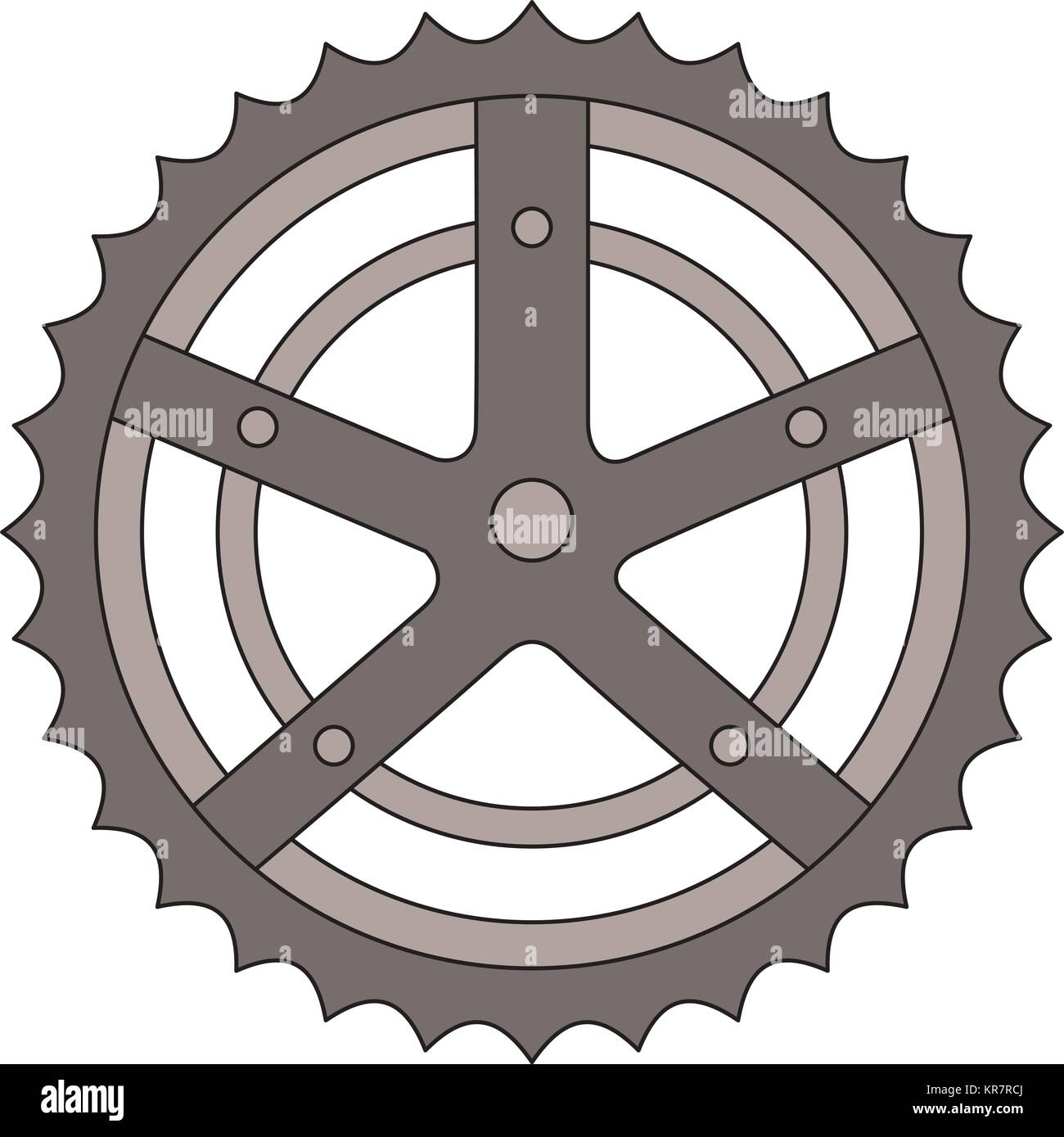 bicycle sprocket isolated icon - Stock Image