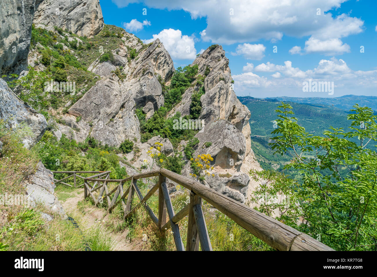 Panoramic view in the Lucanian Dolomites, province of Potenza, Basilicata. Stock Photo