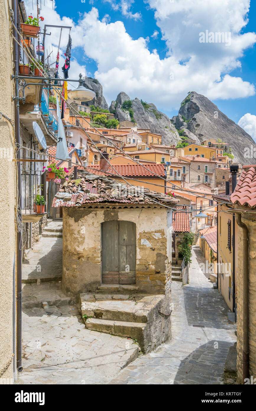 Scenic view of Castelmezzano, province of Potenza, in the Southern Italian region of Basilicata. Stock Photo