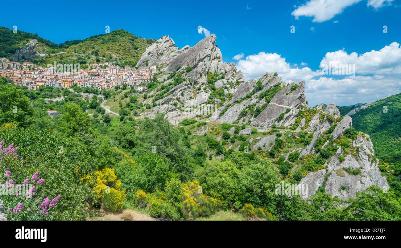 Scenic view of Castelmezzano, province of Potenza, in the Southern Italian region of Basilicata. Stock Photo