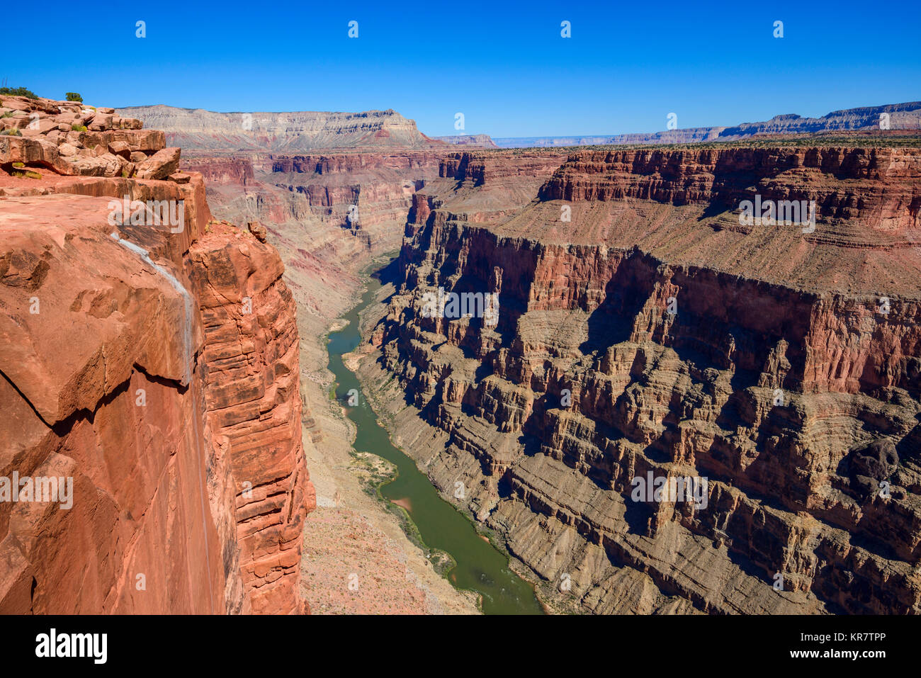 Toroweap Overlook, Grand Canyon National Park Arizona, USA.  It's 3000 feet above the Colorado River, straight - Stock Image