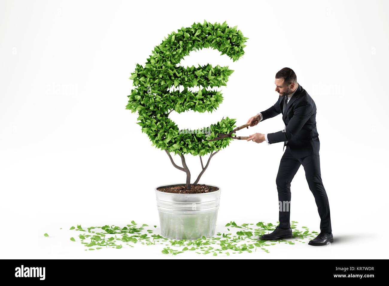 Potted plant with eur shape. 3D Rendering - Stock Image