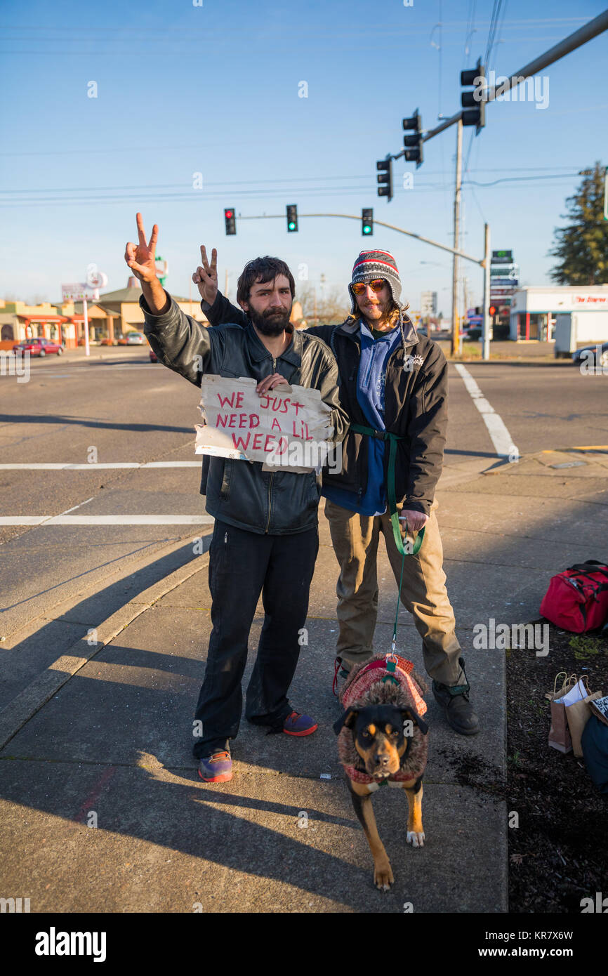 Transient with Weed Sign in Oregon - Stock Image