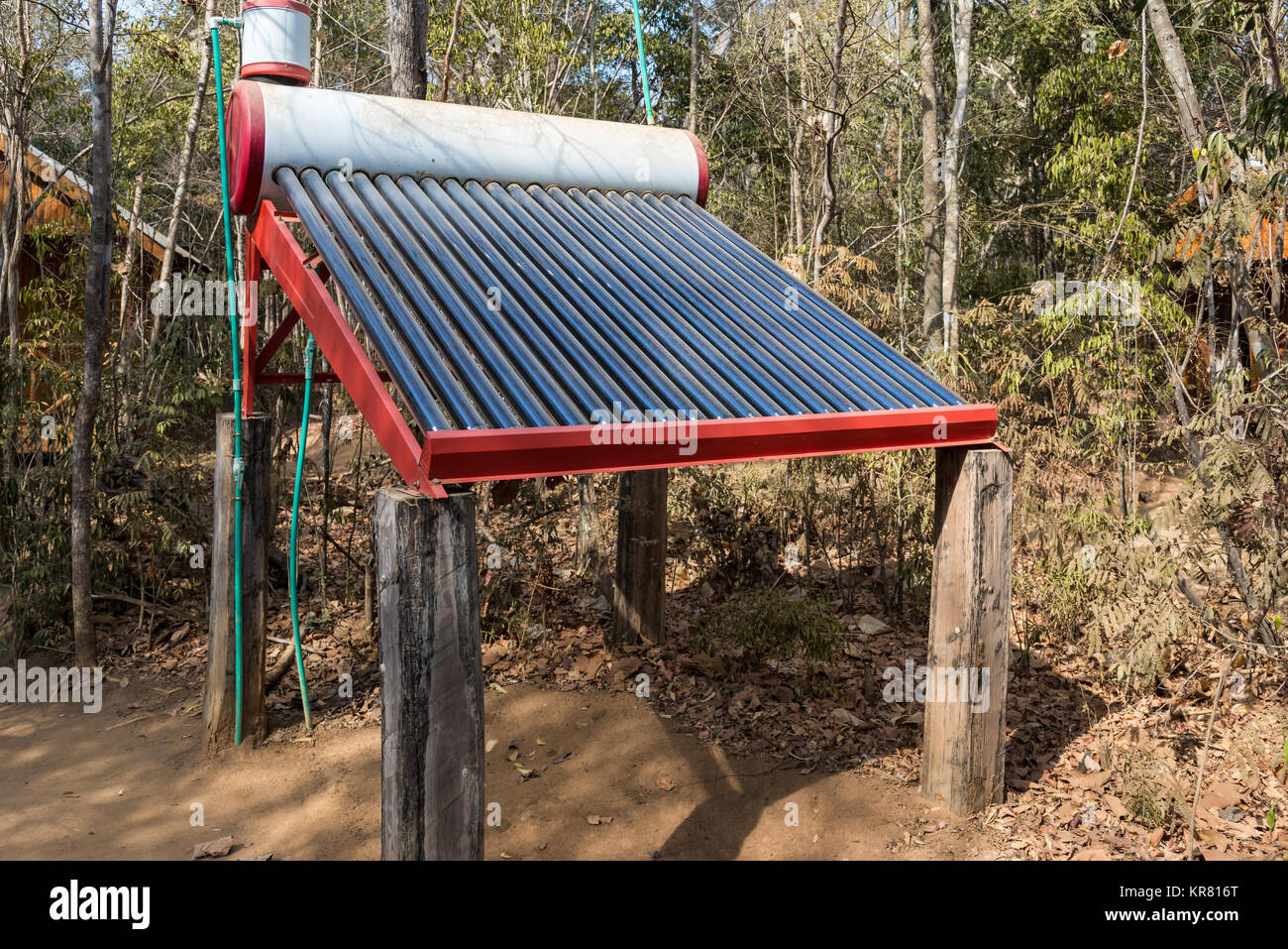 A solar powered water heater. Kirindy Forest Camp. Madagascar, Africa. - Stock Image