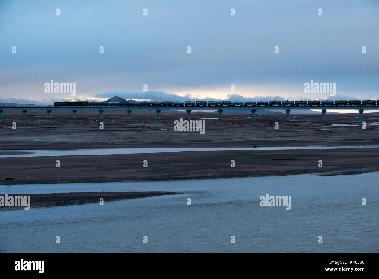 Tuotuo River wetland scenery in Qinghai Province,China - Stock Image