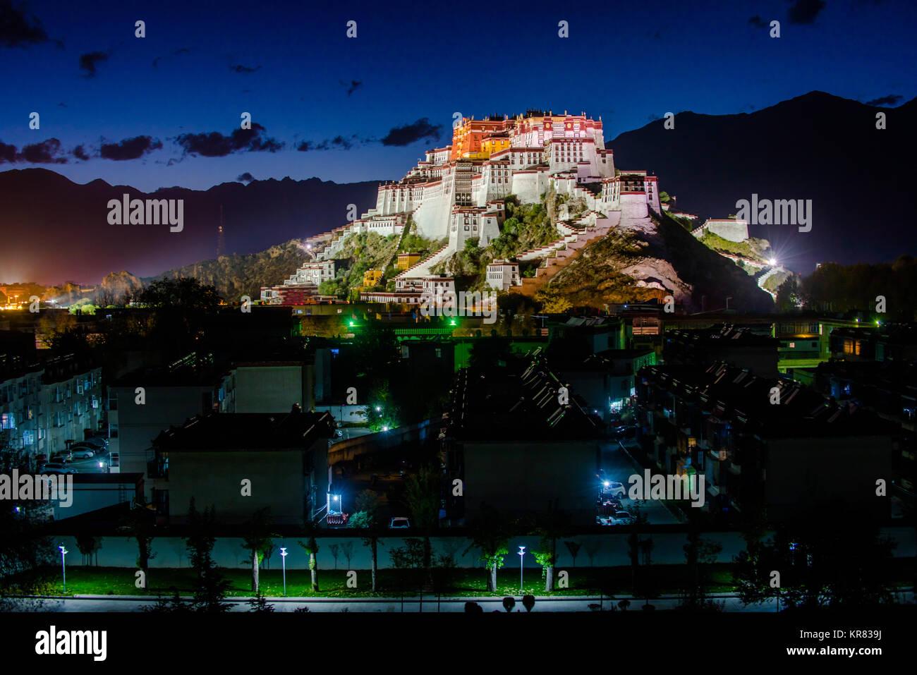Night view of Potala Palace in Lhasa,Tibet - Stock Image