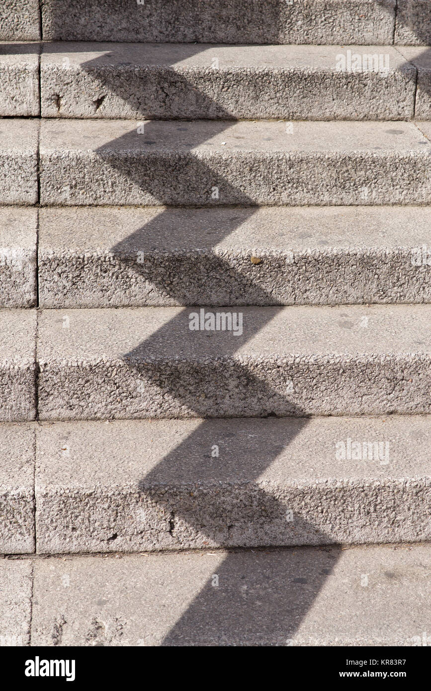 Pattern of shade on a series of steps Stock Photo
