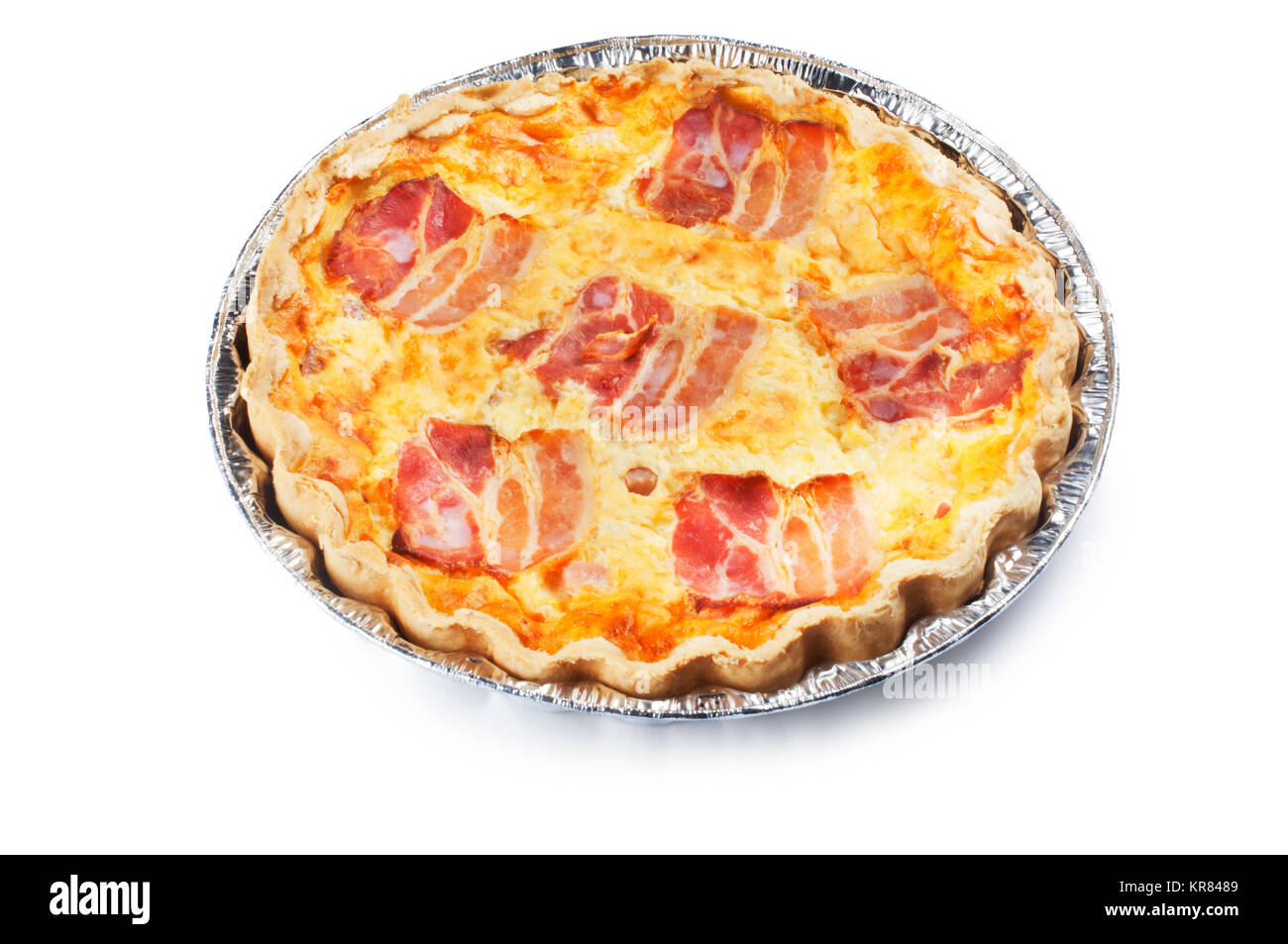 Studio shot of a single quiche isolated against a white background - John Gollop - Stock Image