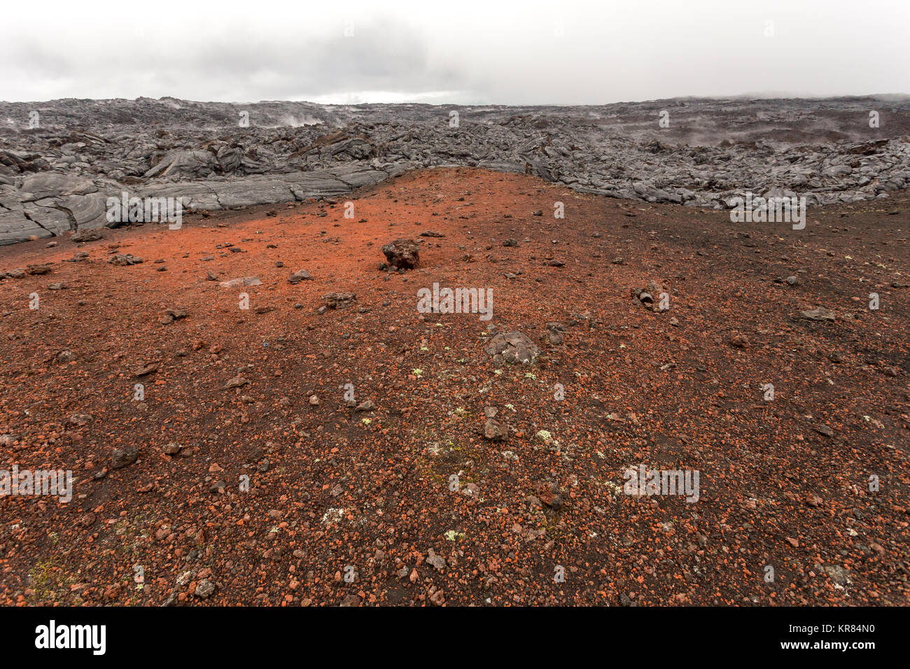 Lava fields like planet Mars near volcano Tolbachik, Kamchatka, Russia. - Stock Image