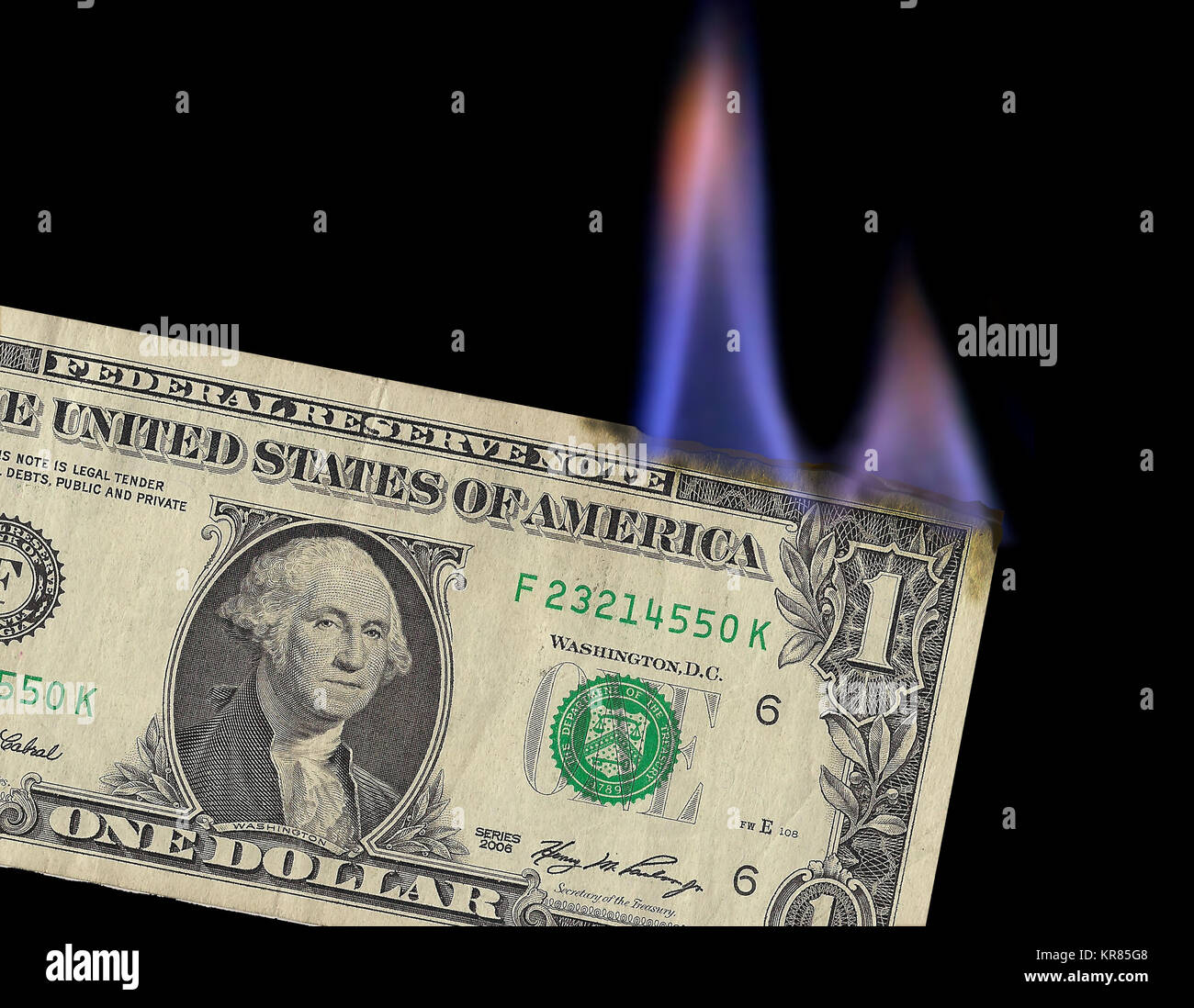 money to burn that is the theme of this flaming us dollar bill in a