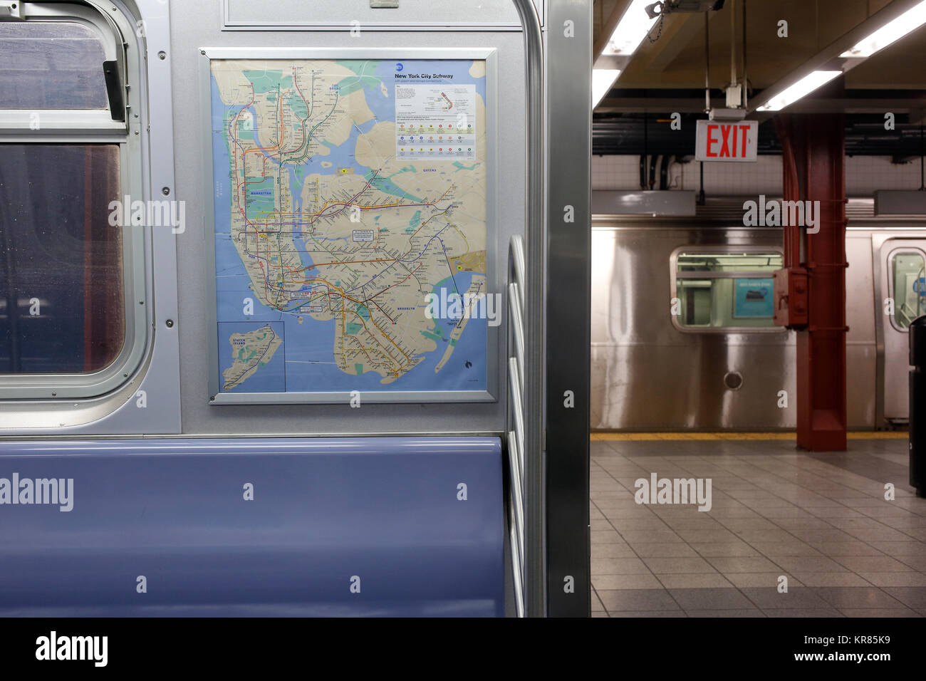 new york city subway map displayed inside train stock image