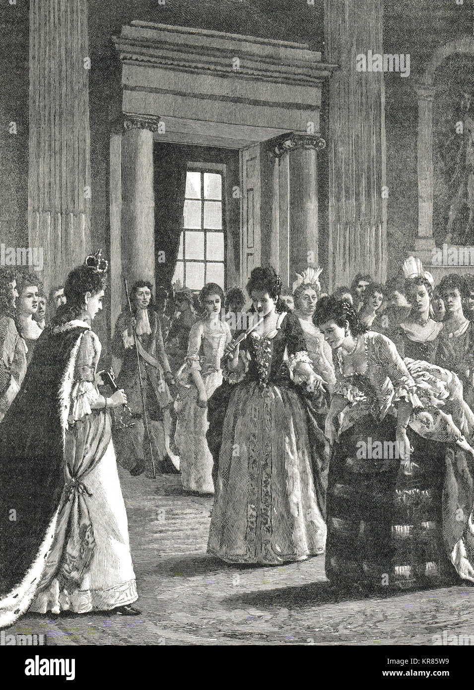 Lady Marlborough meeting the Princess Anne (future Queen Anne of England), Queen's drawing room, circa 1671 - Stock Image