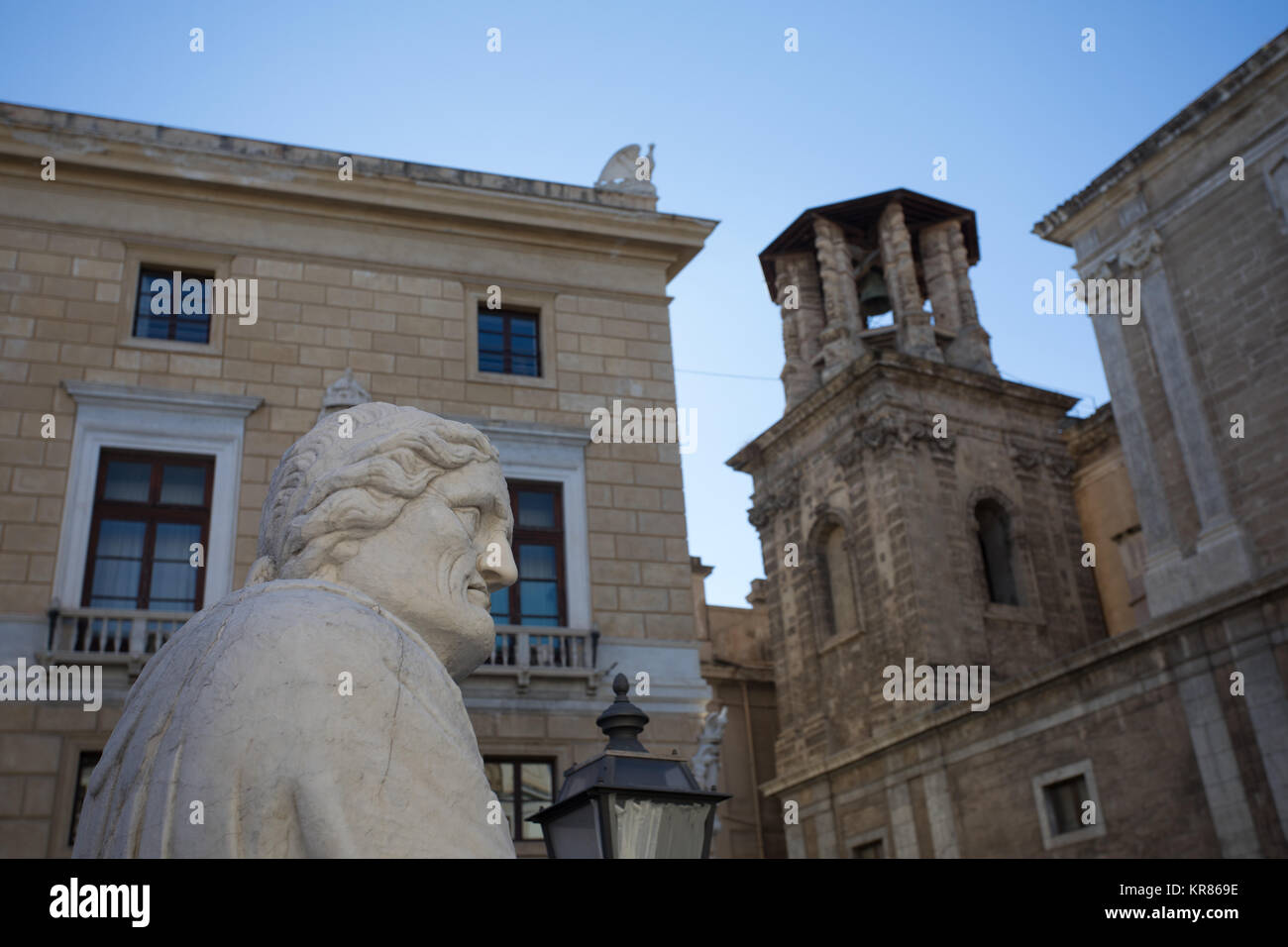 Marble head of old man statue, part of the Pretoria Fountain, monument of Palermo, Sicily, Italy. With arabic moresque - Stock Image