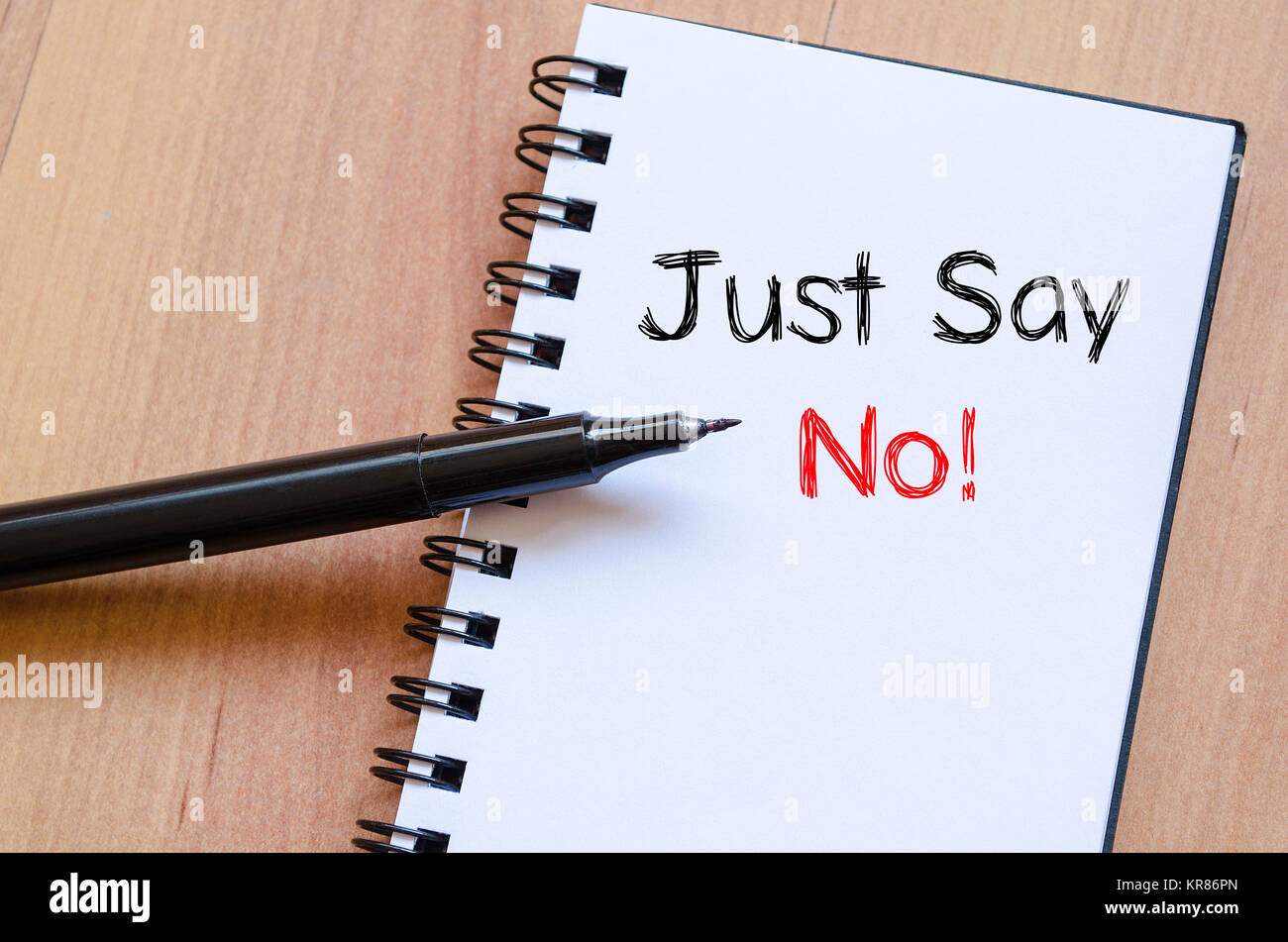 Just say no text concept on notebook - Stock Image