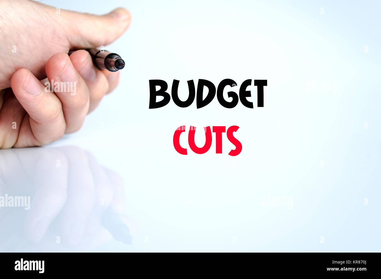 Budget cuts text concept - Stock Image