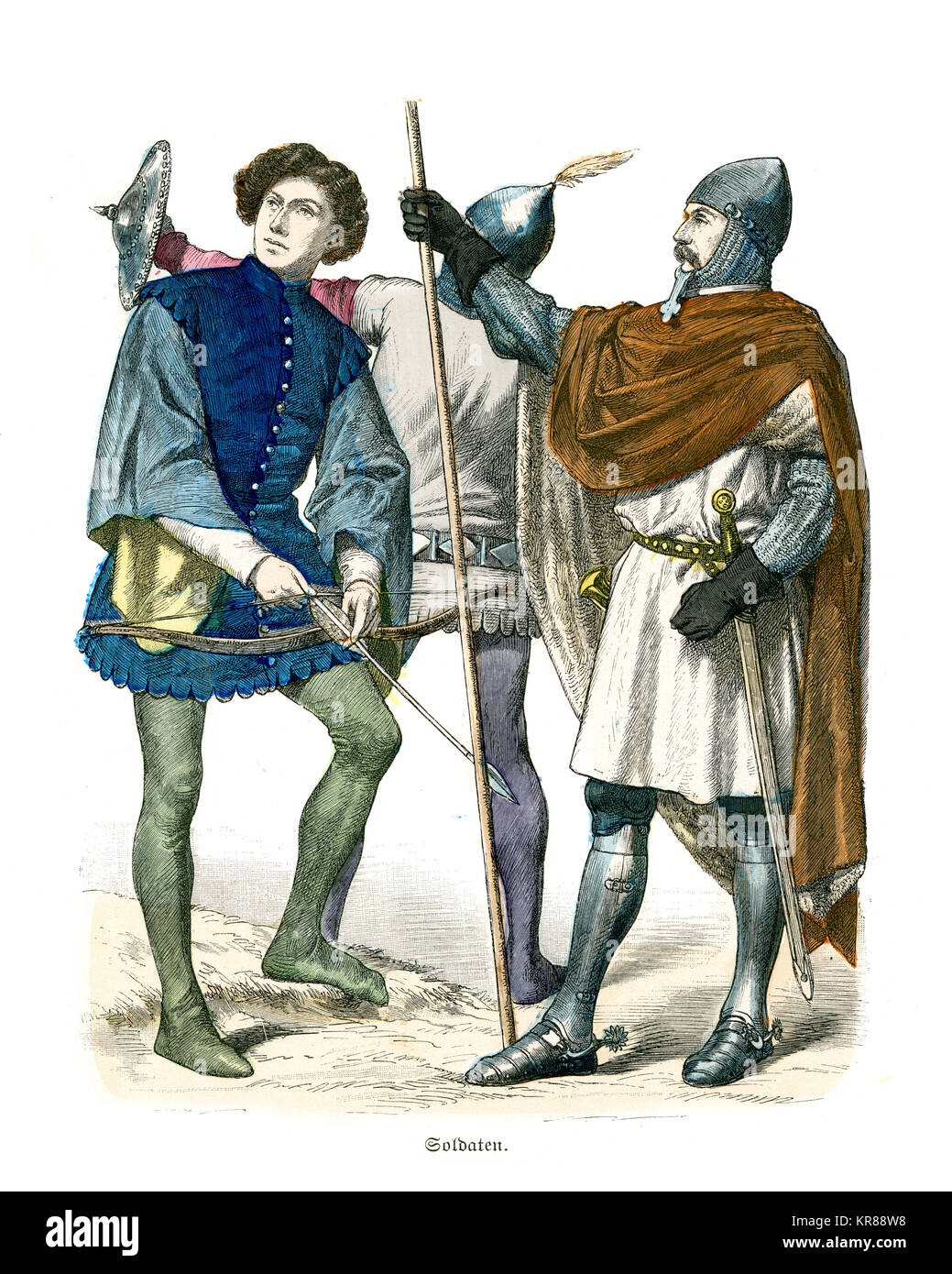 Vintage engraving of Soilders of of Medieval Italy, 14th Century. Knight in armour, archer and soldier with a Buckler - Stock Image