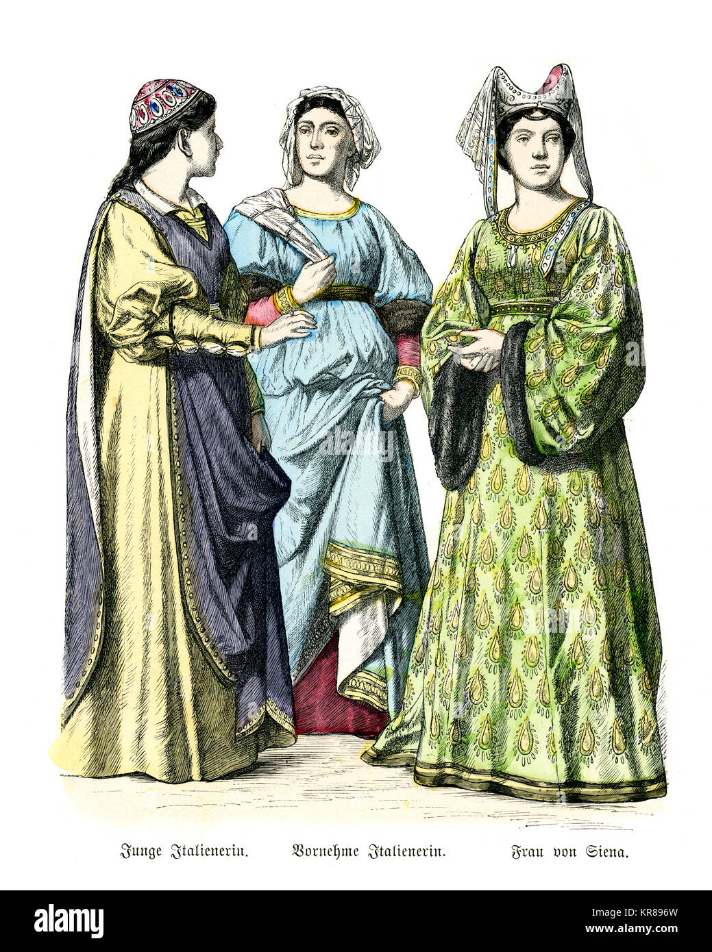 Vintage engraving of Italian women in the fashions of medieval Italy, 14th Century - Stock Image