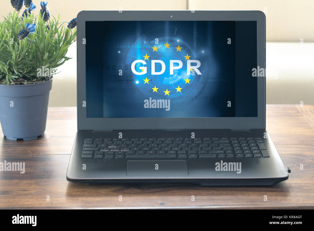 gdpr text on computer screen - Stock Image