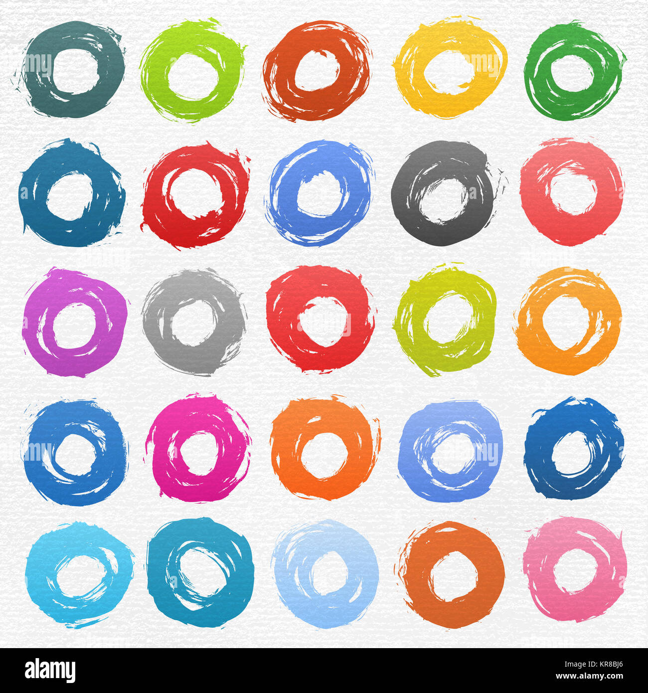 Circle form color brush stroke on white - Stock Image