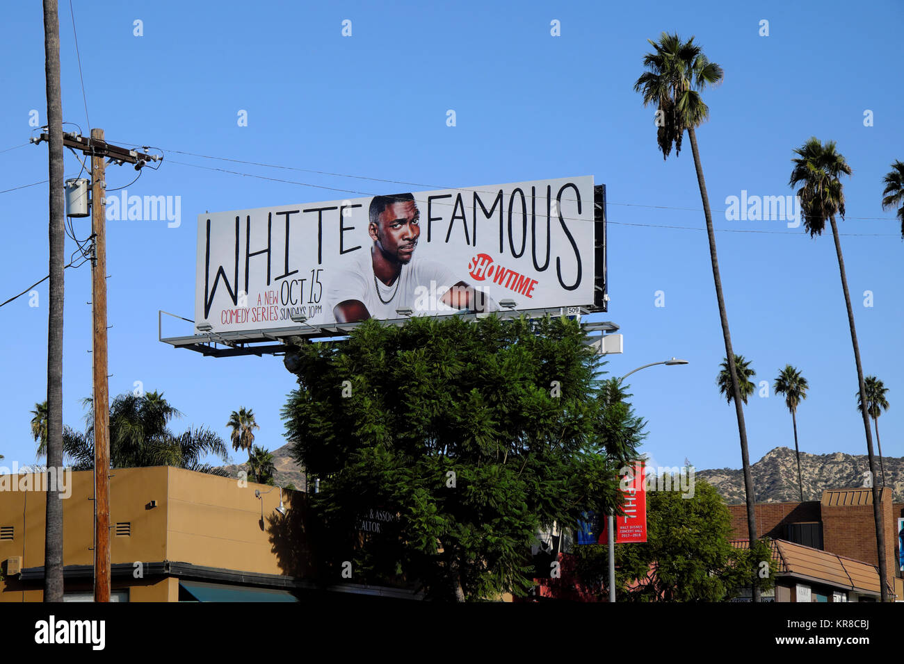 White Famous TB show billboard with actor Jay Pharoah on Hillhurst Avenue in the Los Feliz neighbourhood of Los - Stock Image