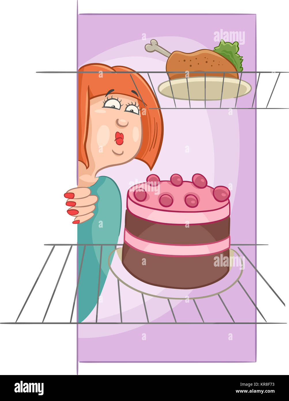 hungry woman on diet cartoon Stock Photo