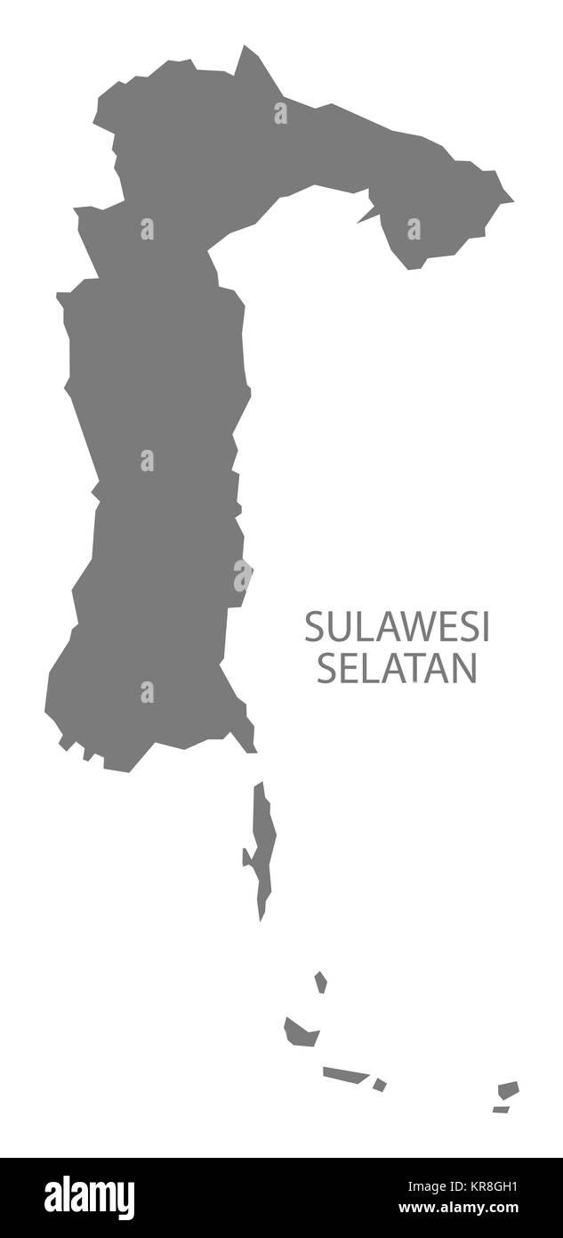 Sulawesi Selatan Indonesia Map grey - Stock Image