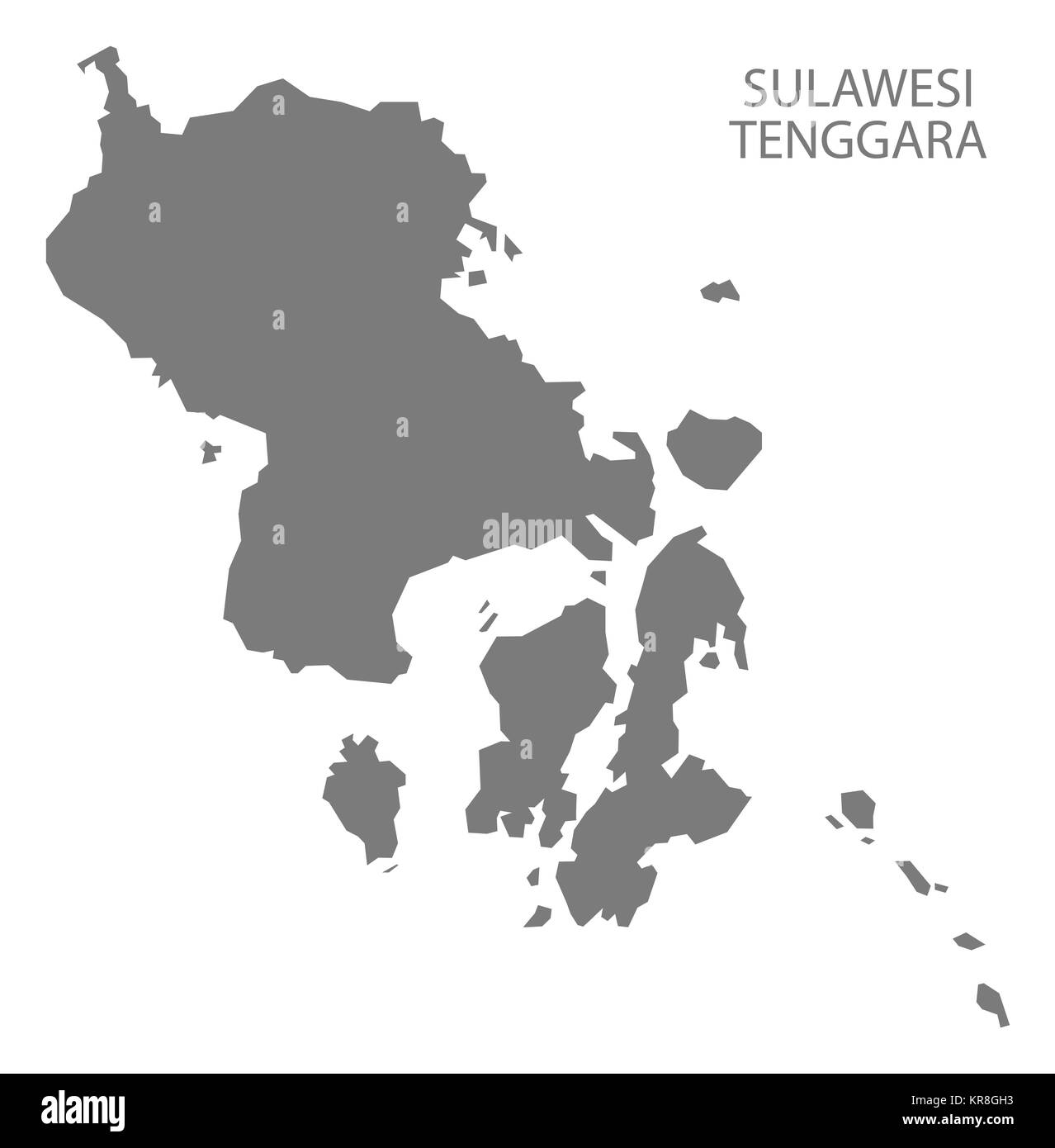 Sulawesi Tenggara Indonesia Map grey - Stock Image