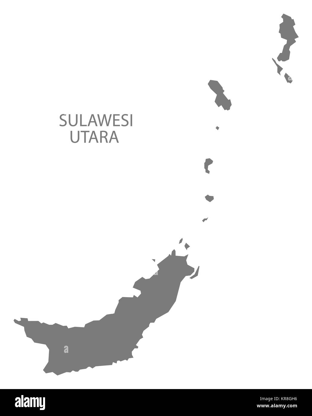 Sulawesi Utara Indonesia Map grey - Stock Image