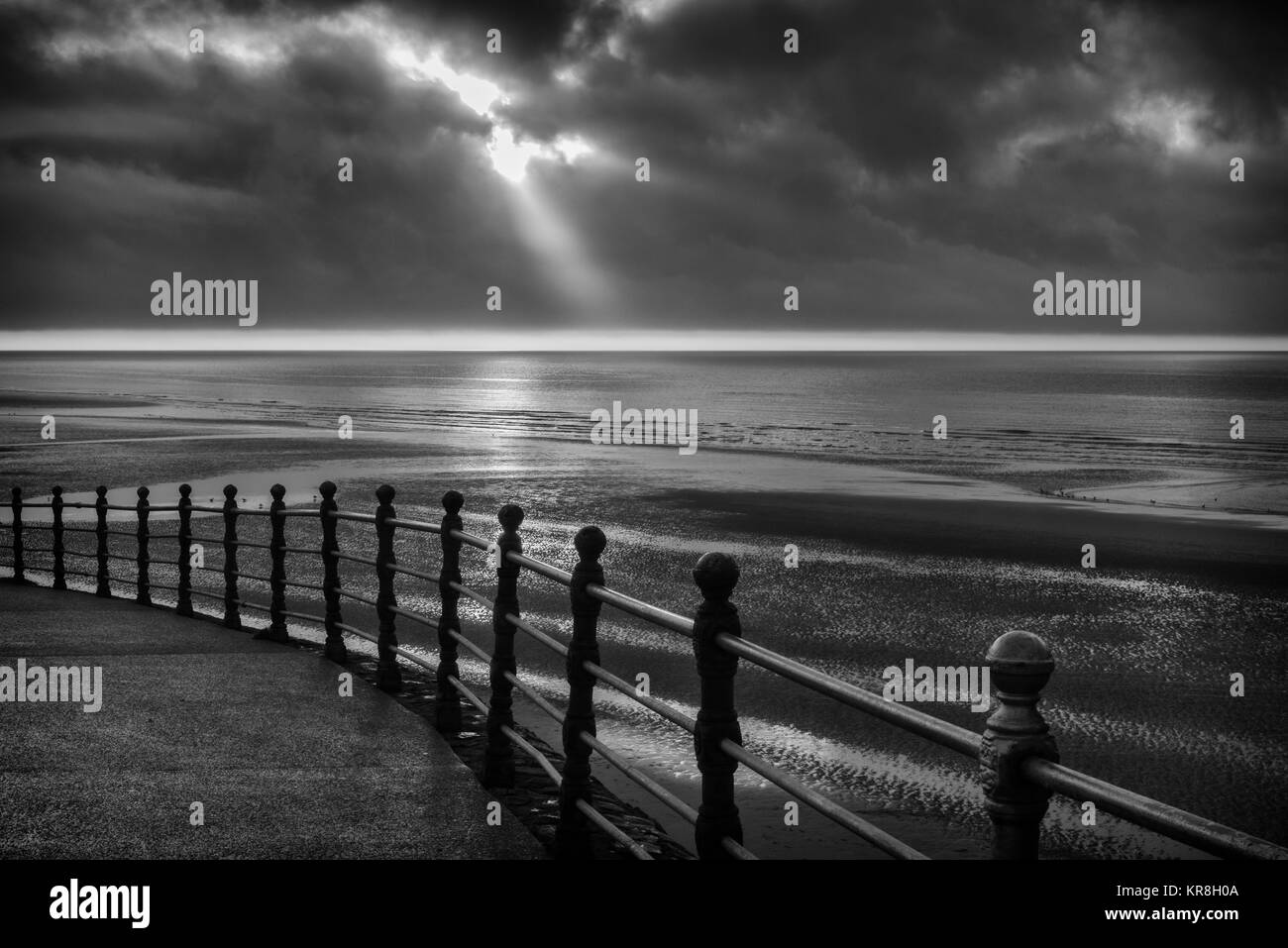 Winter afternoon view of a dramatic sky from the Promenade at the Lancashire seaside resort of Blackpool, England, - Stock Image