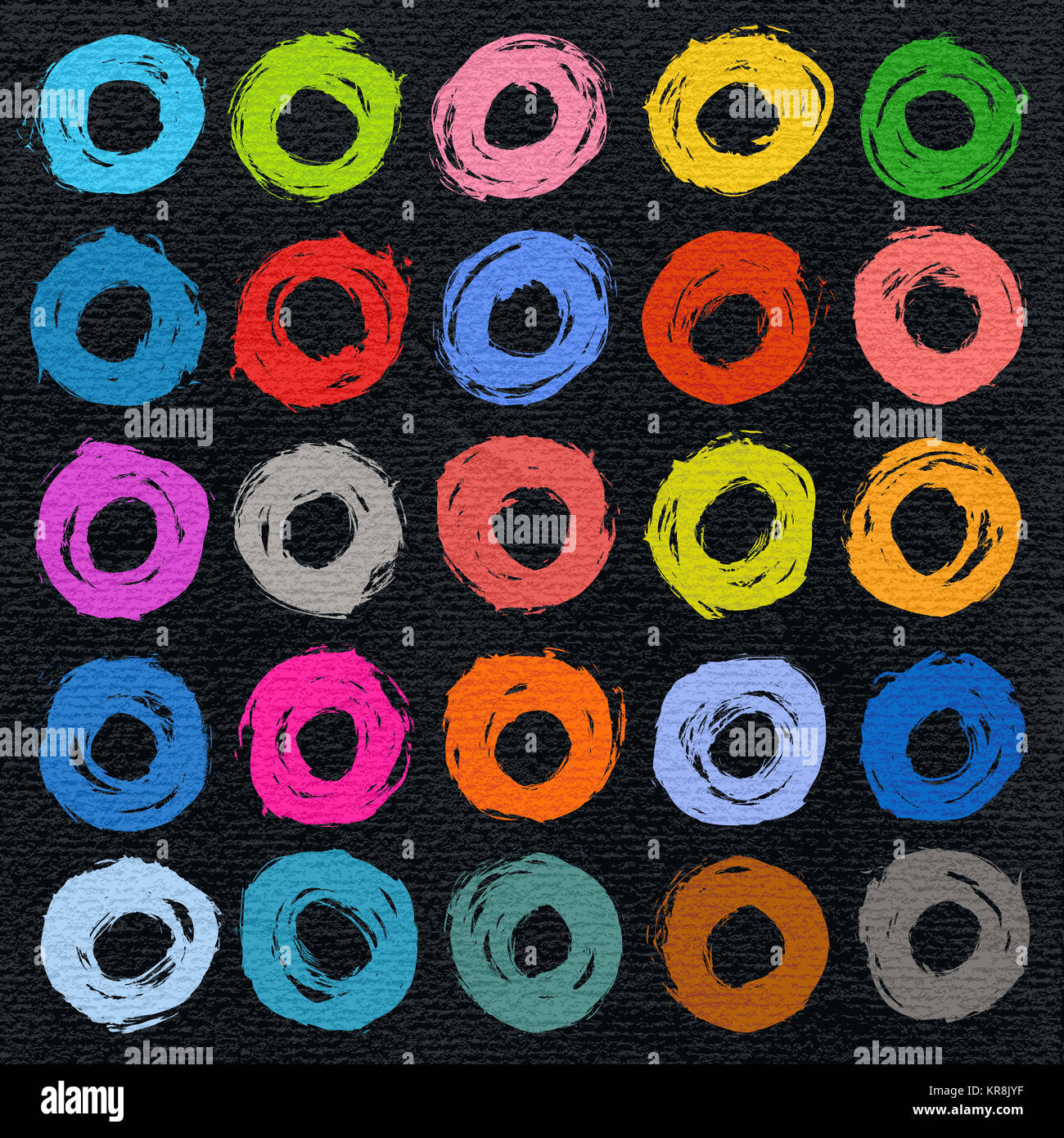 Circle form color brush stroke - Stock Image