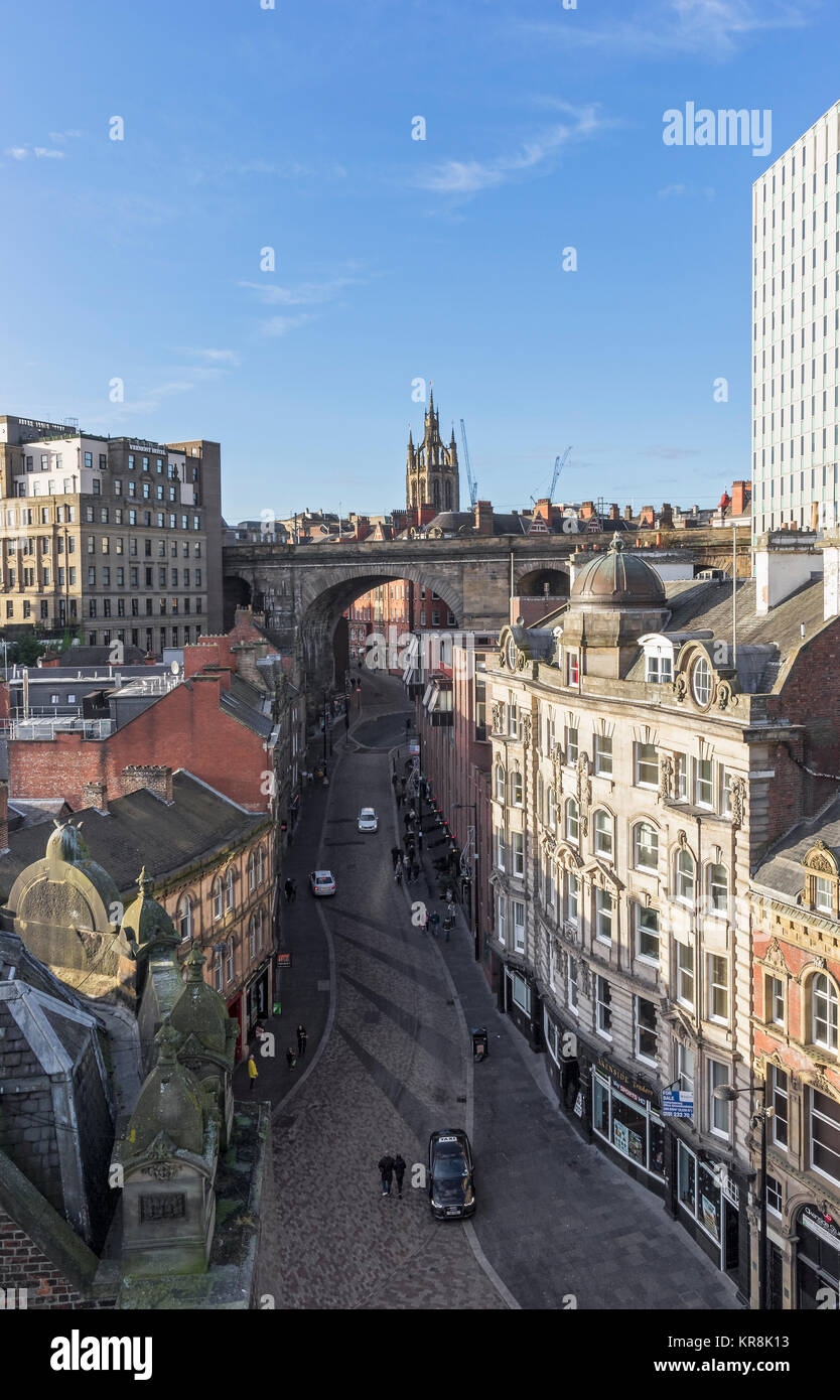 View over part of Newcastle upon Tyne incorporating The Side and Dean Street with the Railway Bridge and St Nicholas - Stock Image
