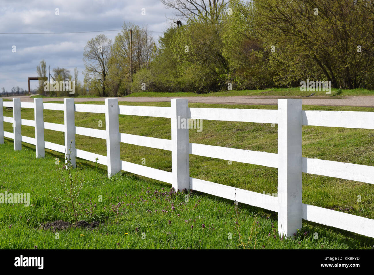 Cloture En Bois Blanc white wooden fence around the ranch stock photo: 169224033