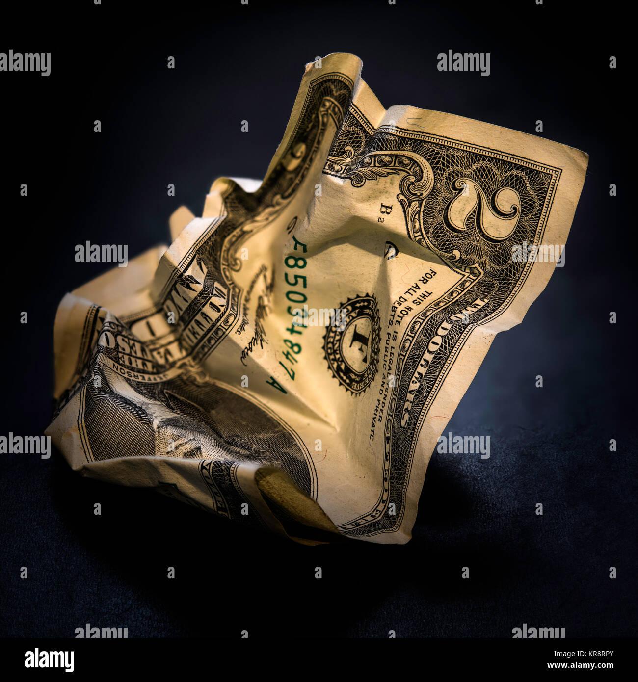 Crumpled american two dollar bill - Stock Image