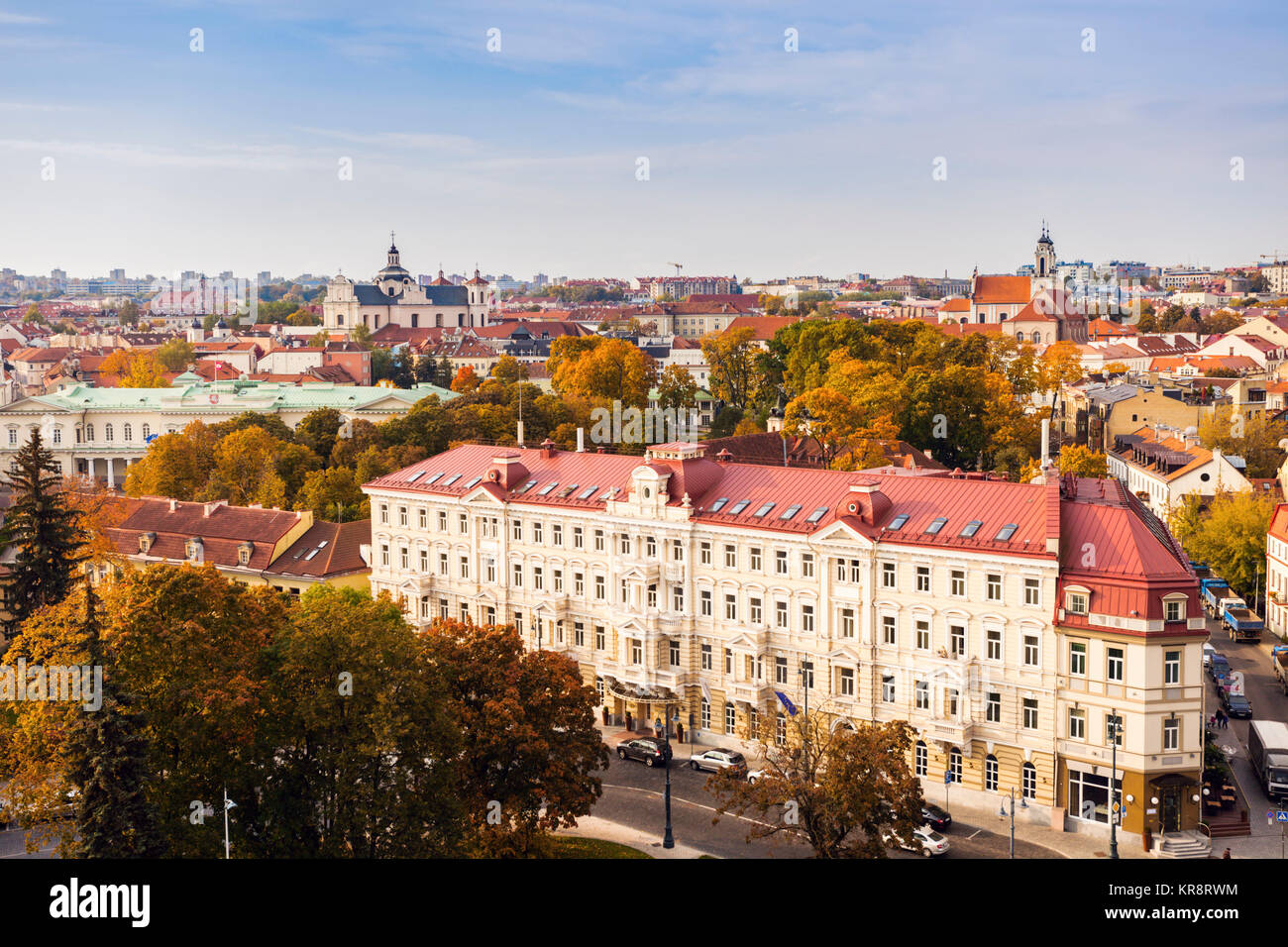 Lithuania, Vilnius, Cityscape of old town - Stock Image