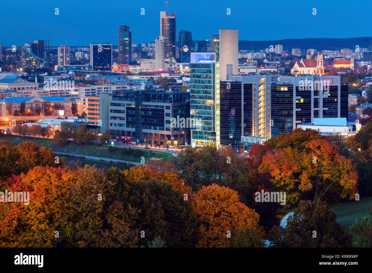 Lithuania, Vilnius, Cityscape at night - Stock Image